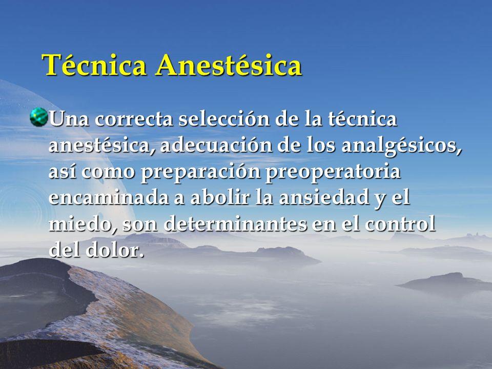 Técnica Anestésica Una correcta selección de la técnica anestésica, adecuación de los analgésicos, así como preparación preoperatoria encaminada a abo