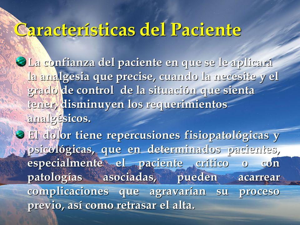 Características del Paciente La confianza del paciente en que se le aplicará la analgesia que precise, cuando la necesite y el grado de control de la
