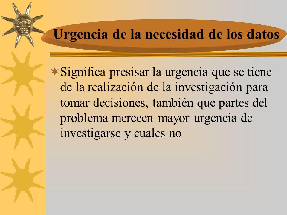 Significa presisar la urgencia que se tiene de la realización de la investigación para tomar decisiones, también que partes del problema merecen mayor