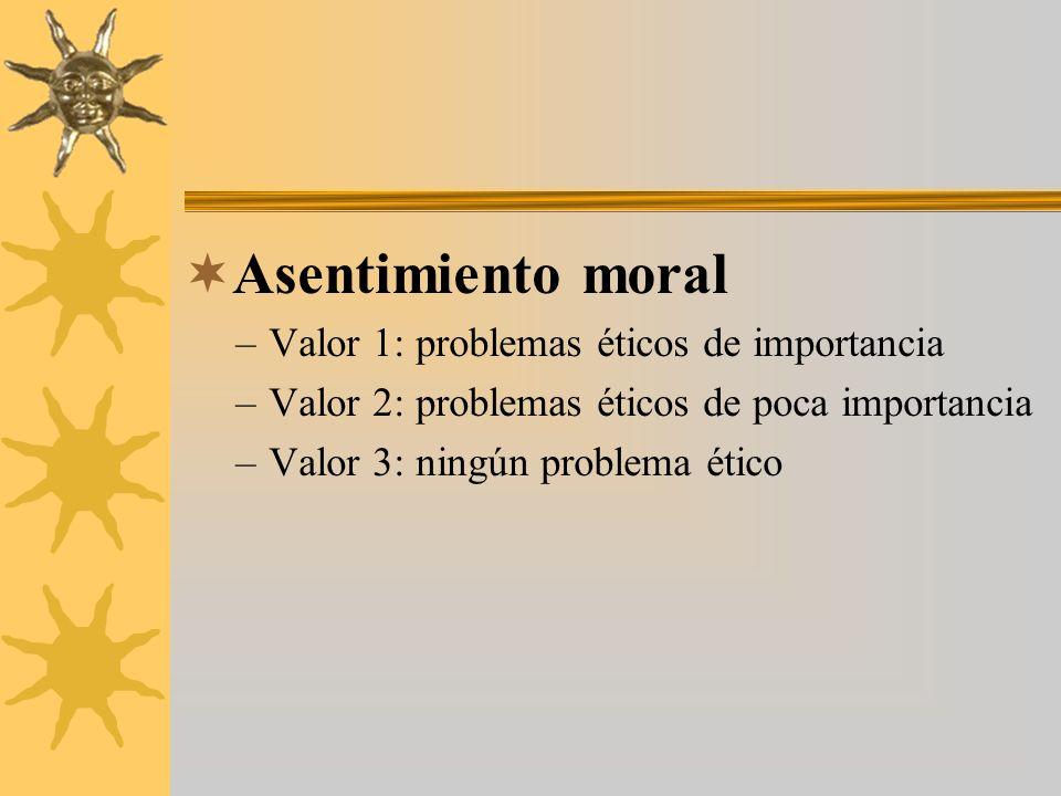 Asentimiento moral –Valor 1: problemas éticos de importancia –Valor 2: problemas éticos de poca importancia –Valor 3: ningún problema ético