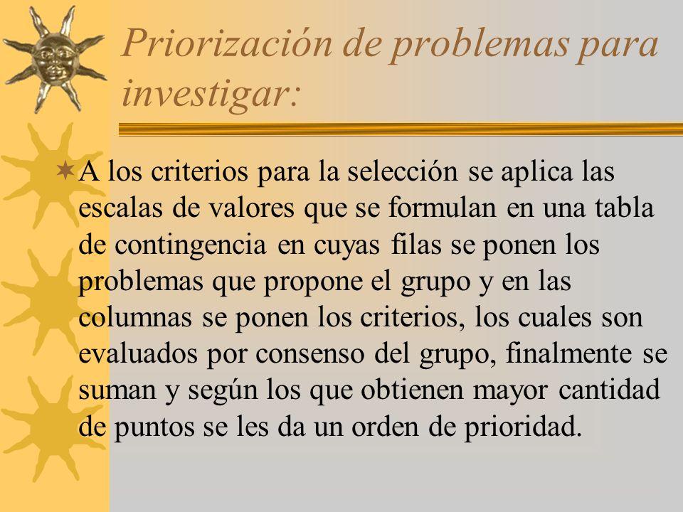 Priorización de problemas para investigar: A los criterios para la selección se aplica las escalas de valores que se formulan en una tabla de continge