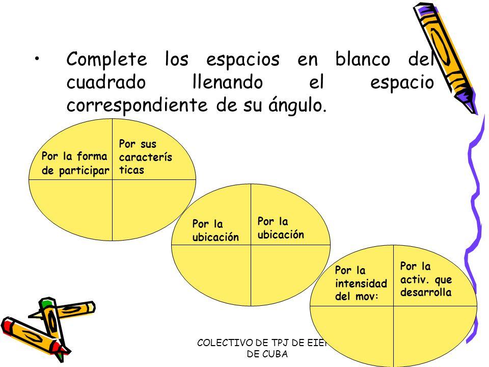 COLECTIVO DE TPJ DE EIEFD DE CUBA Complete los espacios en blanco del cuadrado llenando el espacio correspondiente de su ángulo. Por la forma de parti