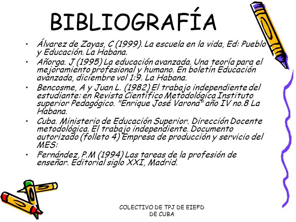 COLECTIVO DE TPJ DE EIEFD DE CUBA BIBLIOGRAFÍA Álvarez de Zayas, C (1999). La escuela en la vida, Ed: Pueblo y Educación. La Habana. Añorga. J (1995)