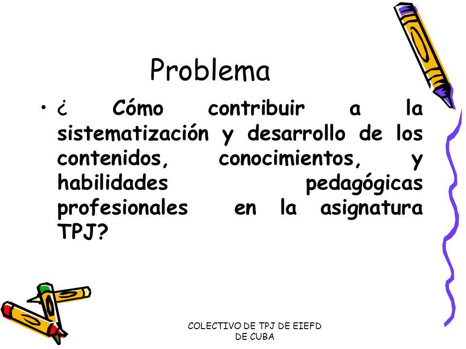 COLECTIVO DE TPJ DE EIEFD DE CUBA Problema ¿ Cómo contribuir a la sistematización y desarrollo de los contenidos, conocimientos, y habilidades pedagóg