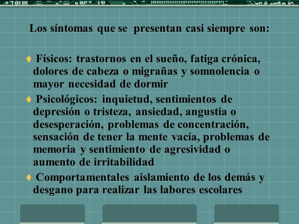 Los síntomas que se presentan con menor frecuencia entre los alumnos de los postgrados en educación son: dolores de cabeza o migrañas, problemas de digestión, dolor abdominal o diarrea, rascarse, morderse las uñas, frotarse, etc., aislamiento de los demás y absentismo de las clases.