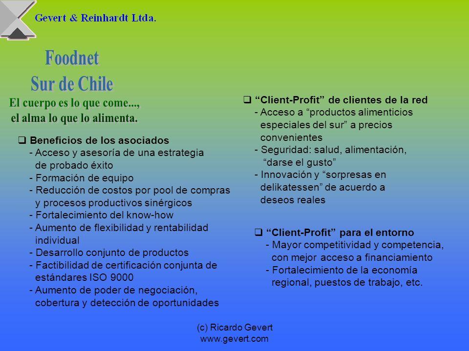 (c) Ricardo Gevert www.gevert.com Beneficios de los asociados - Acceso y asesoría de una estrategia de probado éxito - Formación de equipo - Reducción