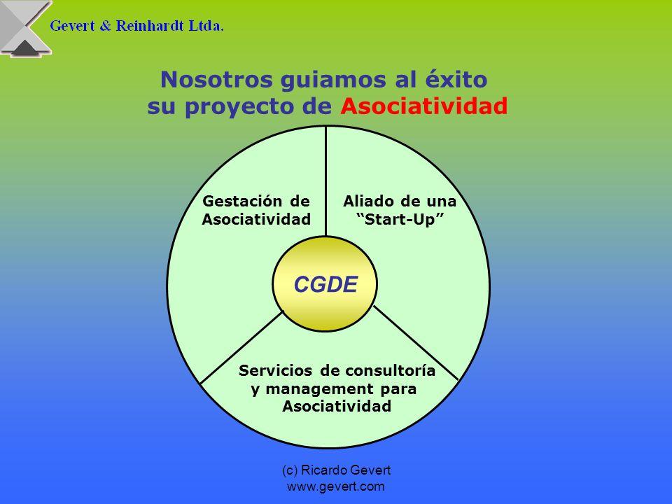 (c) Ricardo Gevert www.gevert.com Nosotros guiamos al éxito su proyecto de Asociatividad CGDE Aliado de una Start-Up Gestación de Asociatividad Servic