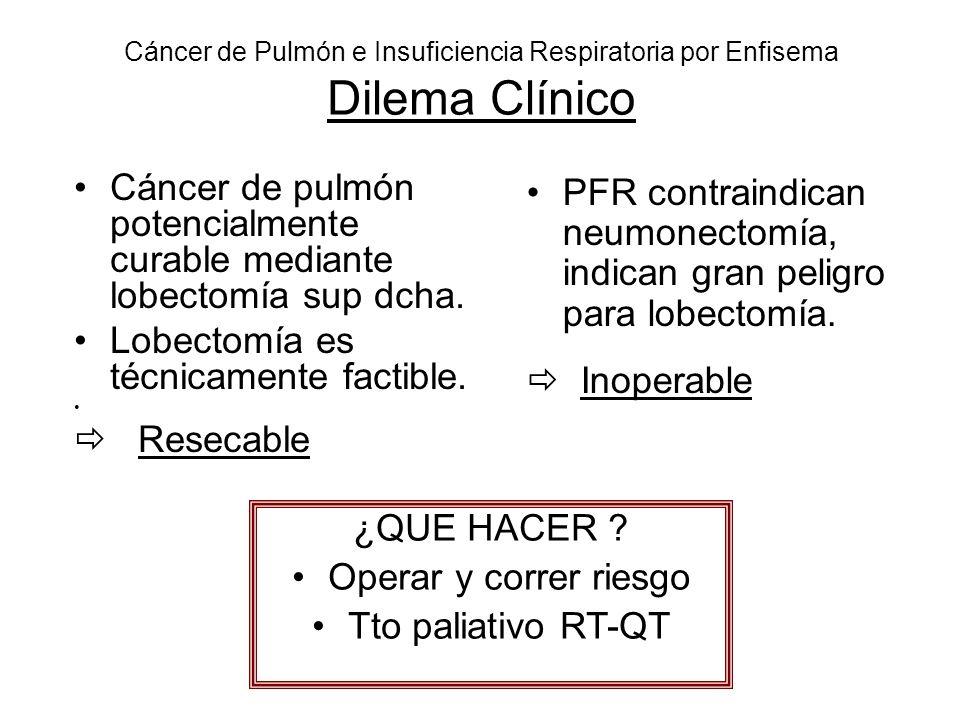 Cáncer de Pulmón e Insuficiencia Respiratoria por Enfisema Dilema Clínico Cáncer de pulmón potencialmente curable mediante lobectomía sup dcha. Lobect