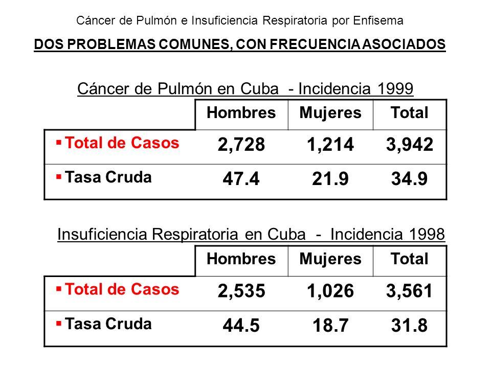 Cáncer de Pulmón en Cuba - Incidencia 1999 Insuficiencia Respiratoria en Cuba - Incidencia 1998 HombresMujeresTotal Total de Casos 2,7281,2143,942 Tas