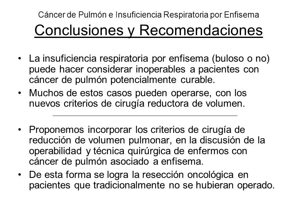 Cáncer de Pulmón e Insuficiencia Respiratoria por Enfisema Conclusiones y Recomendaciones La insuficiencia respiratoria por enfisema (buloso o no) pue