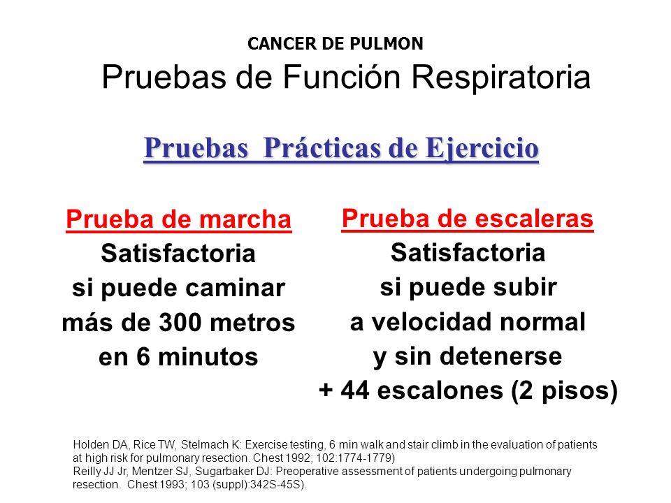 Pruebas de Función Respiratoria Prueba de marcha Satisfactoria si puede caminar más de 300 metros en 6 minutos Prueba de escaleras Satisfactoria si pu