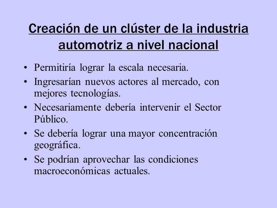 Creación de un clúster de la industria automotriz a nivel nacional Permitiría lograr la escala necesaria. Ingresarían nuevos actores al mercado, con m