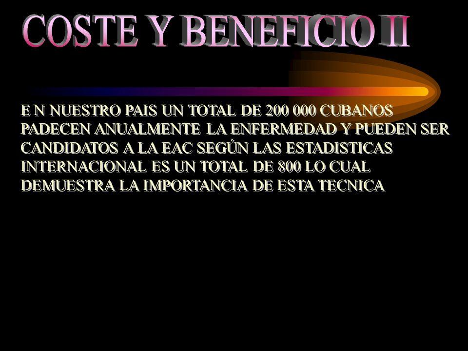 E N NUESTRO PAIS UN TOTAL DE 200 000 CUBANOS PADECEN ANUALMENTE LA ENFERMEDAD Y PUEDEN SER CANDIDATOS A LA EAC SEGÚN LAS ESTADISTICAS INTERNACIONAL ES UN TOTAL DE 800 LO CUAL DEMUESTRA LA IMPORTANCIA DE ESTA TECNICA