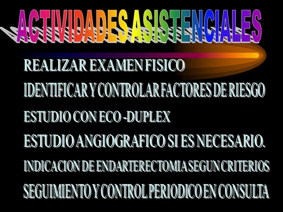 COORDINACION DE LOS ESPECIALISTAS DE CIRUGIA VASCULAR,NEUROLOGIA,RADIOLOGIA,MGI DE LAS DIFERENTES AREAS DE SALUD Y NIVEL SECUNDARIO PARA ORIENTAR LA TAREAS ASISTENSIALES A REALIZAR.