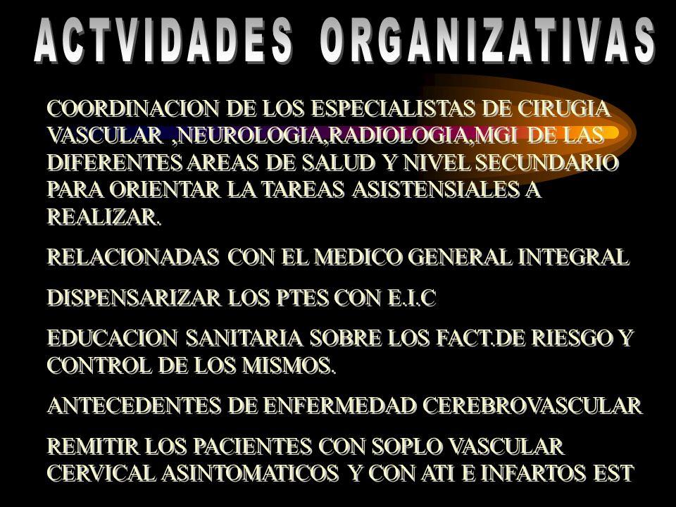 COORDINACION DE LOS ESPECIALISTAS DE CIRUGIA VASCULAR,NEUROLOGIA,RADIOLOGIA,MGI DE LAS DIFERENTES AREAS DE SALUD Y NIVEL SECUNDARIO PARA ORIENTAR LA T