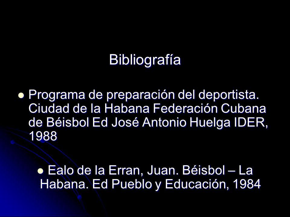Bibliografía Programa de preparación del deportista. Ciudad de la Habana Federación Cubana de Béisbol Ed José Antonio Huelga IDER, 1988 Programa de pr