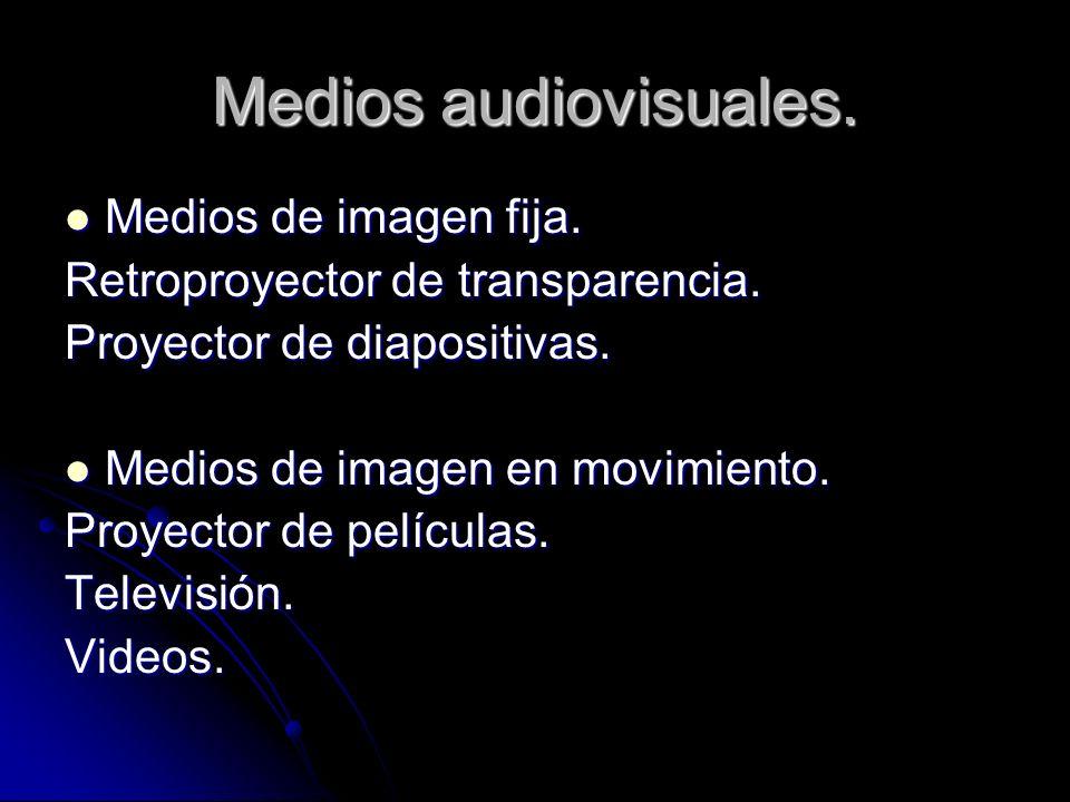 Medios audiovisuales. Medios de imagen fija. Medios de imagen fija. Retroproyector de transparencia. Proyector de diapositivas. Medios de imagen en mo