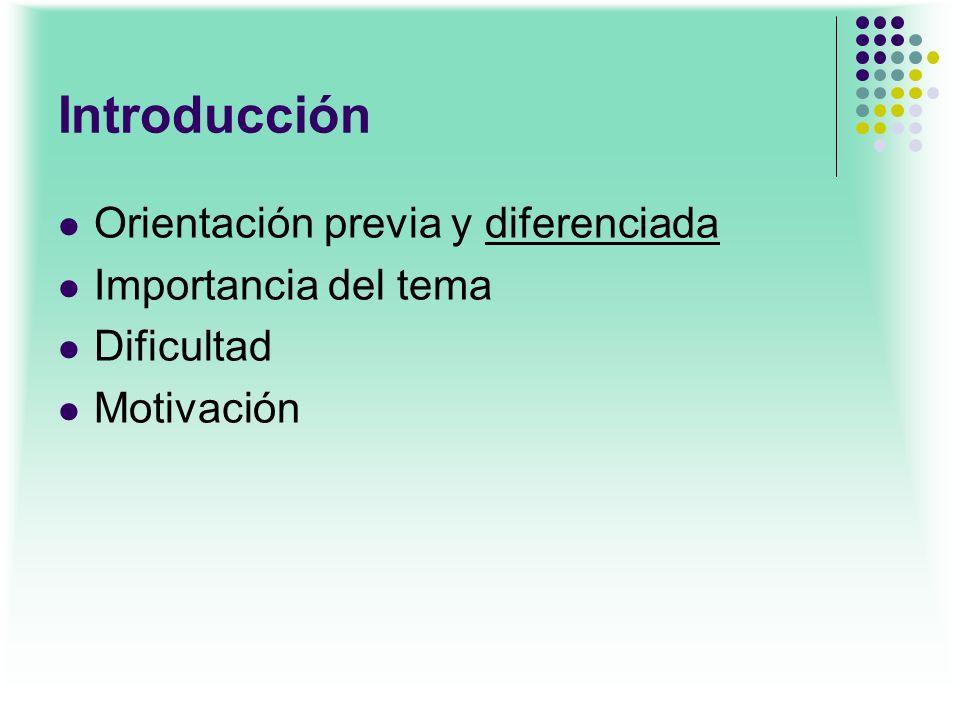 Introducción Orientación previa y diferenciada Importancia del tema Dificultad Motivación
