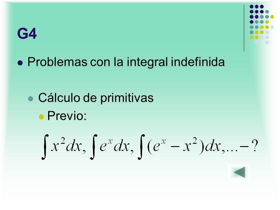 G4 Problemas con la integral indefinida Cálculo de primitivas Previo:
