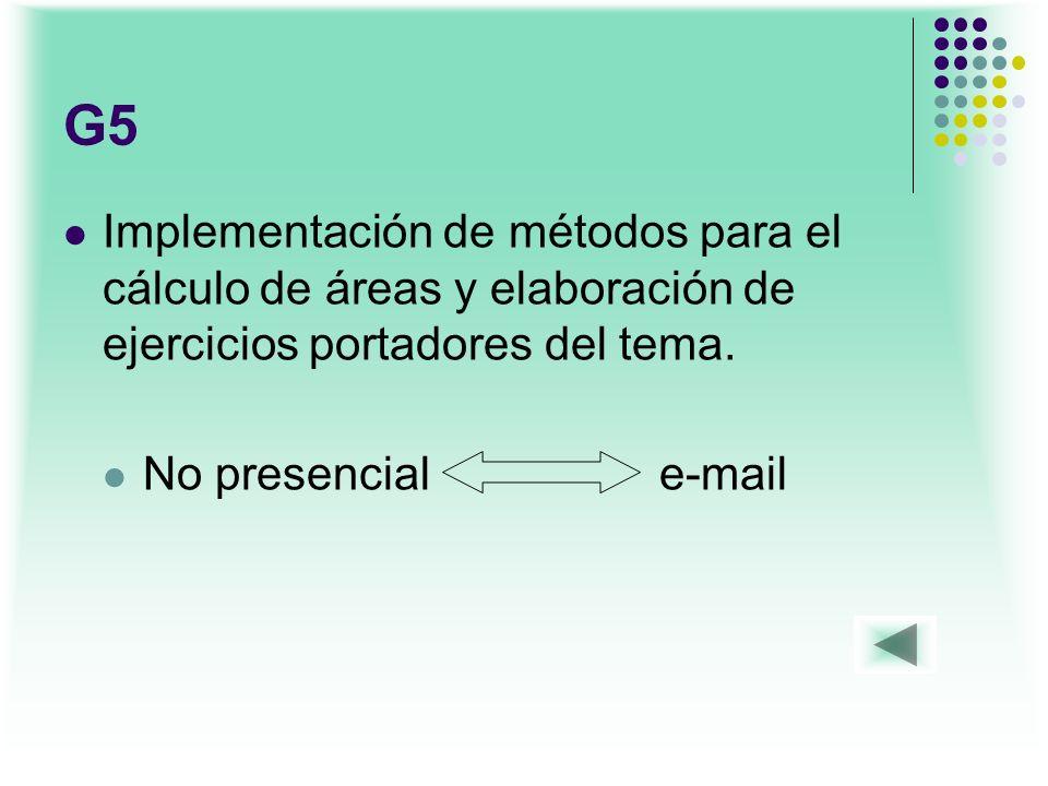 G5 Implementación de métodos para el cálculo de áreas y elaboración de ejercicios portadores del tema. No presencial e-mail