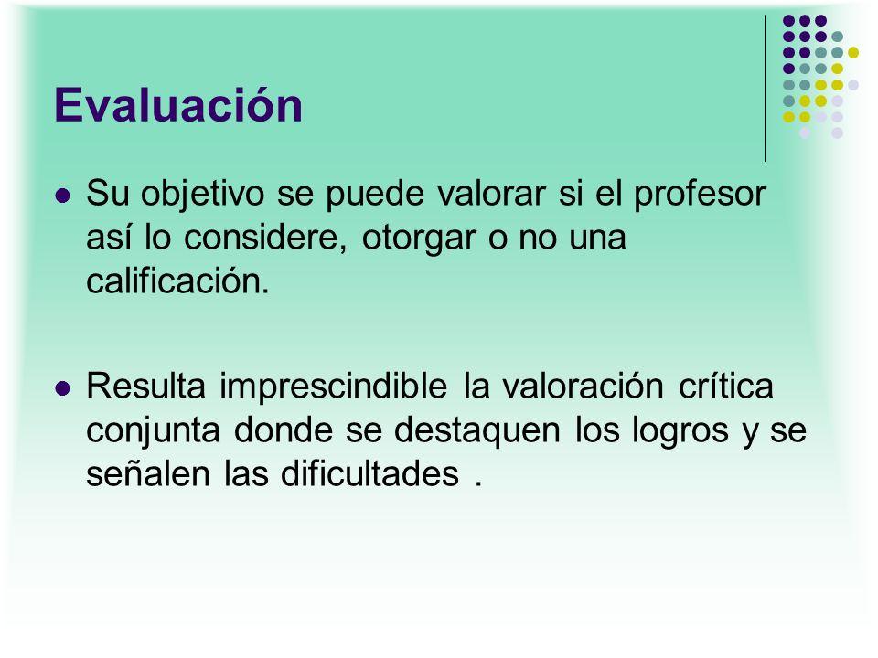 Evaluación Su objetivo se puede valorar si el profesor así lo considere, otorgar o no una calificación. Resulta imprescindible la valoración crítica c