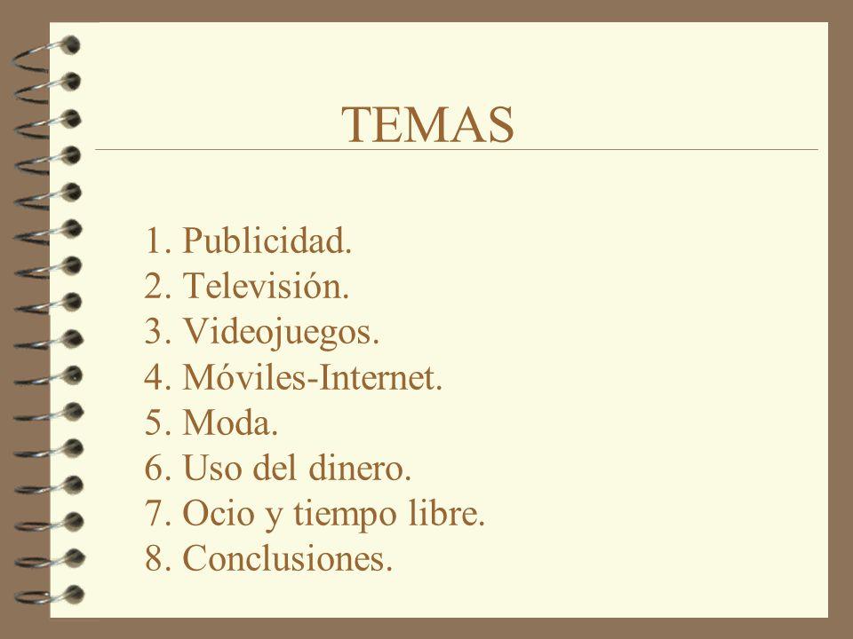 TEMAS 1. Publicidad. 2. Televisión. 3. Videojuegos. 4. Móviles-Internet. 5. Moda. 6. Uso del dinero. 7. Ocio y tiempo libre. 8. Conclusiones.