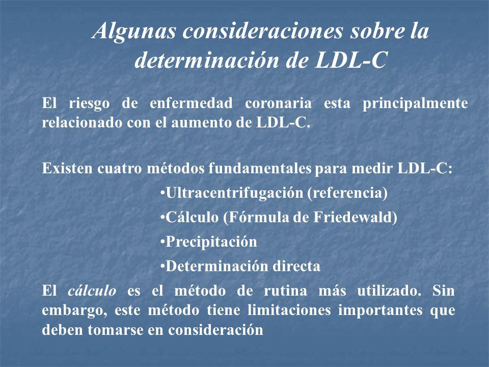 Algunas consideraciones sobre la determinación de LDL-C El riesgo de enfermedad coronaria esta principalmente relacionado con el aumento de LDL-C. Exi