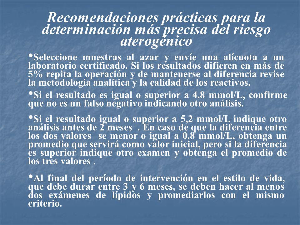 Recomendaciones prácticas para la determinación más precisa del riesgo aterogénico Seleccione muestras al azar y envíe una alícuota a un laboratorio c