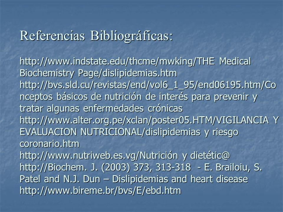 Referencias Bibliográficas: http://www.indstate.edu/thcme/mwking/THE Medical Biochemistry Page/dislipidemias.htm http://bvs.sld.cu/revistas/end/vol6_1