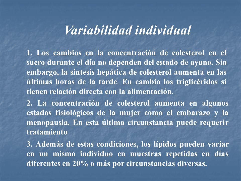 Variabilidad individual 1. Los cambios en la concentración de colesterol en el suero durante el día no dependen del estado de ayuno. Sin embargo, la s