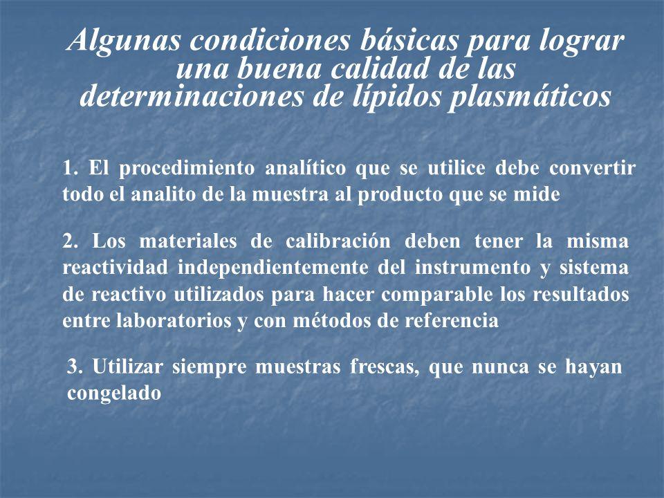 Algunas condiciones básicas para lograr una buena calidad de las determinaciones de lípidos plasmáticos 1. El procedimiento analítico que se utilice d