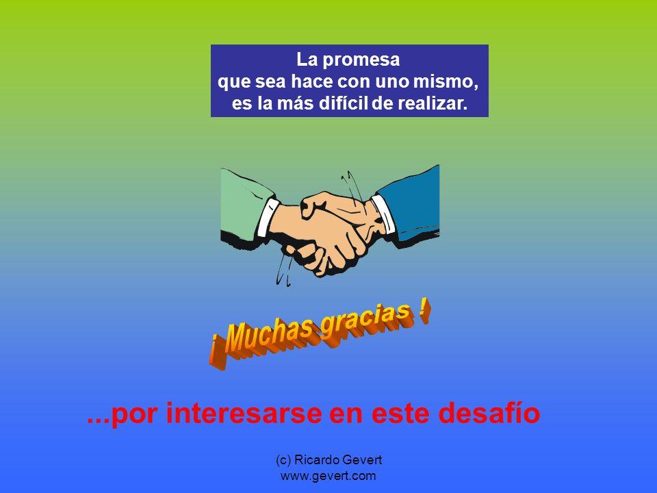 (c) Ricardo Gevert www.gevert.com...por interesarse en este desafío La promesa que sea hace con uno mismo, es la más difícil de realizar.