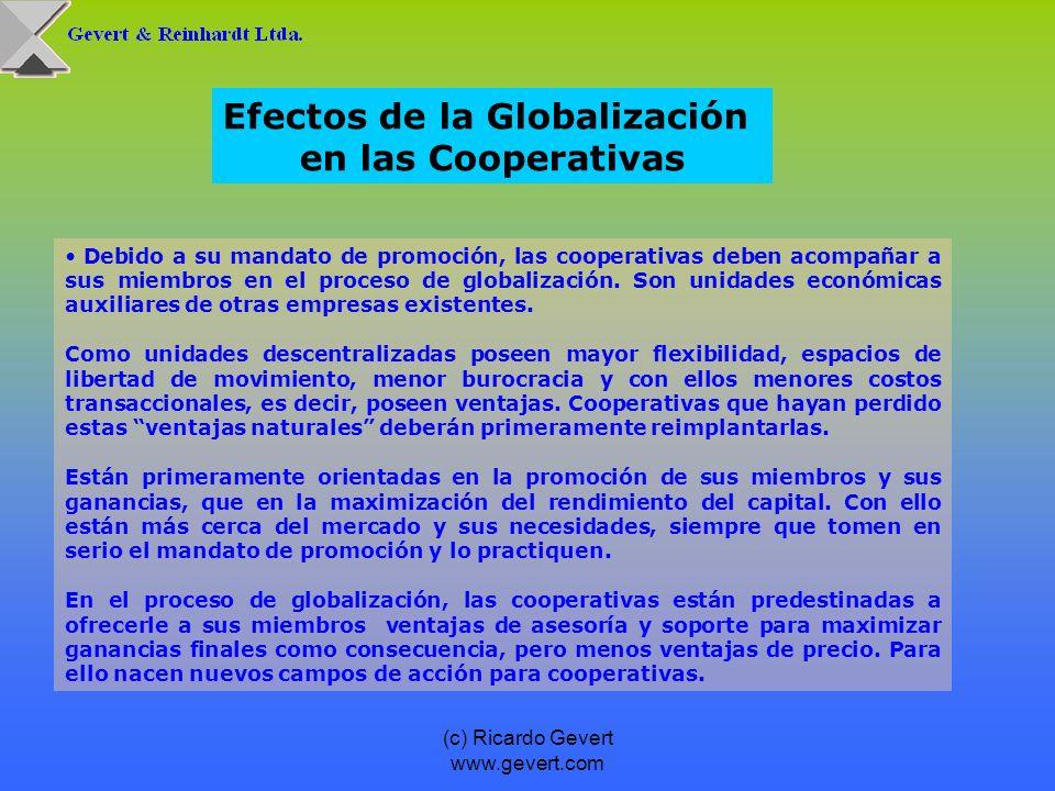 (c) Ricardo Gevert www.gevert.com Debido a su mandato de promoción, las cooperativas deben acompañar a sus miembros en el proceso de globalización. So