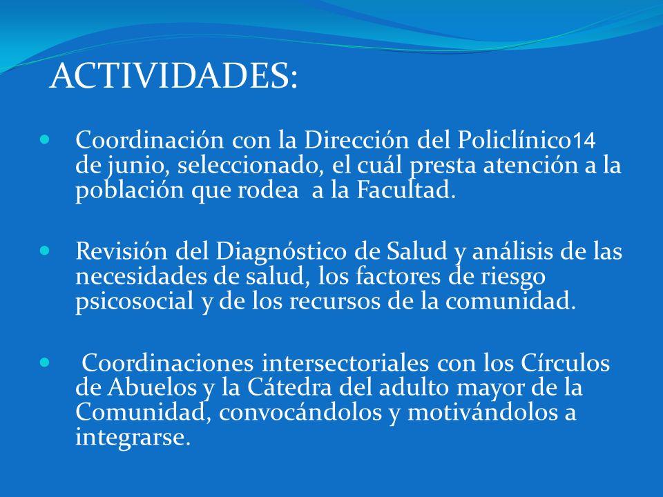 ACTIVIDADES: Coordinación con la Dirección del Policlínico 14 de junio, seleccionado, el cuál presta atención a la población que rodea a la Facultad.