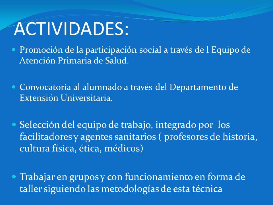 ACTIVIDADES: Promoción de la participación social a través de l Equipo de Atención Primaria de Salud. Convocatoria al alumnado a través del Departamen