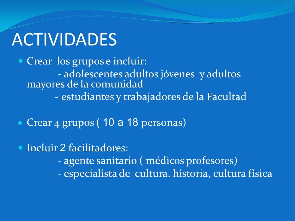 ACTIVIDADES Crear los grupos e incluir: - adolescentes adultos jóvenes y adultos mayores de la comunidad - estudiantes y trabajadores de la Facultad C