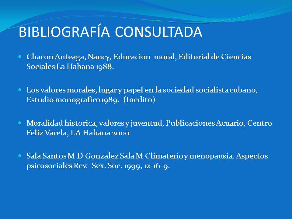 BIBLIOGRAFÍA CONSULTADA Chacon Anteaga, Nancy, Educacion moral, Editorial de Ciencias Sociales La Habana 1988. Los valores morales, lugar y papel en l
