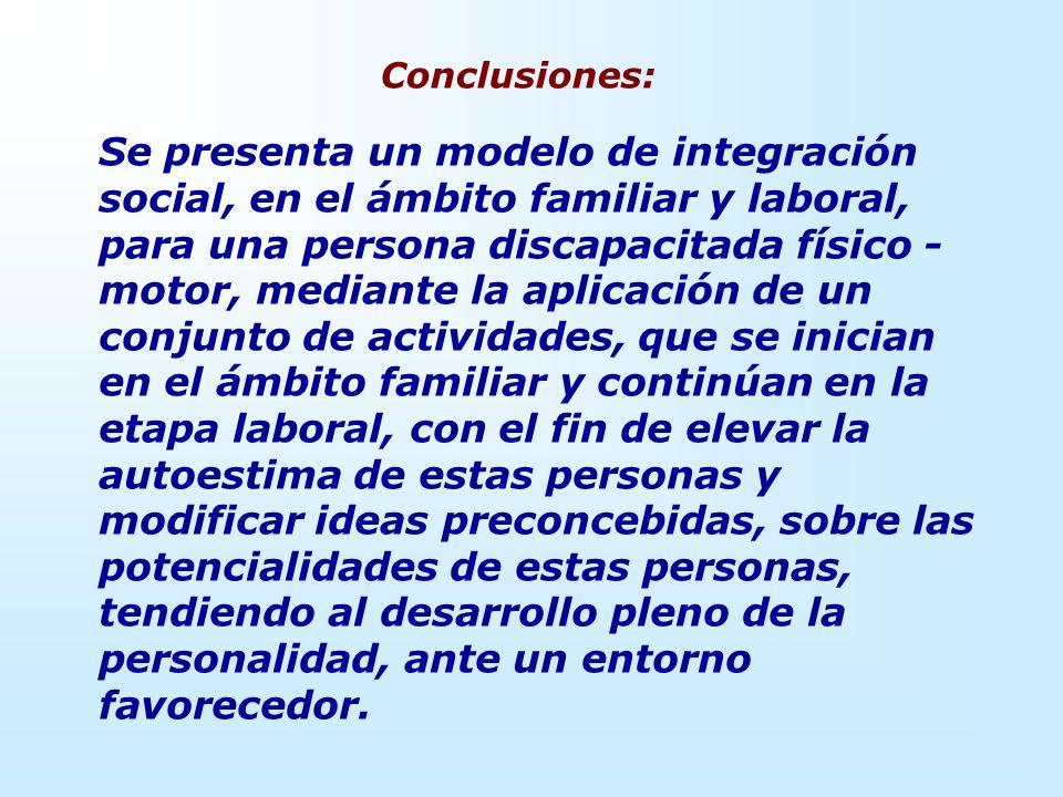 Conclusiones: Se presenta un modelo de integración social, en el ámbito familiar y laboral, para una persona discapacitada físico - motor, mediante la