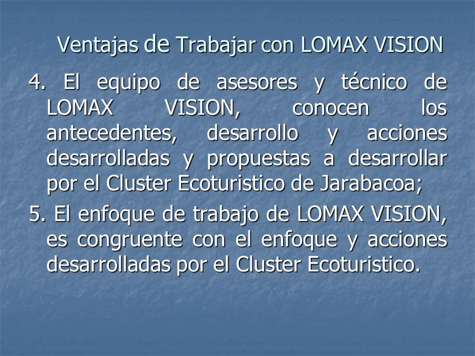 4. El equipo de asesores y técnico de LOMAX VISION, conocen los antecedentes, desarrollo y acciones desarrolladas y propuestas a desarrollar por el Cl