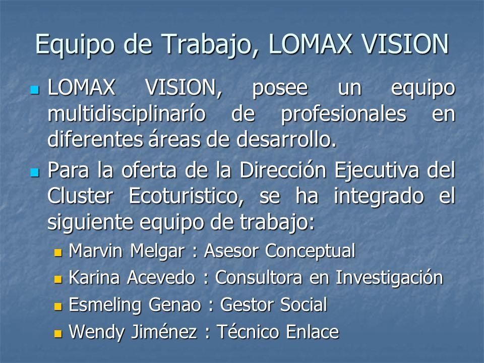 Equipo de Trabajo, LOMAX VISION LOMAX VISION, posee un equipo multidisciplinarío de profesionales en diferentes áreas de desarrollo.