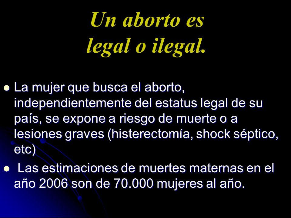 Un aborto es legal o ilegal. La mujer que busca el aborto, independientemente del estatus legal de su país, se expone a riesgo de muerte o a lesiones