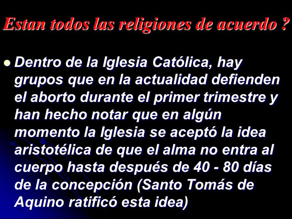 Estan todos las religiones de acuerdo ? Dentro de la Iglesia Católica, hay grupos que en la actualidad defienden el aborto durante el primer trimestre