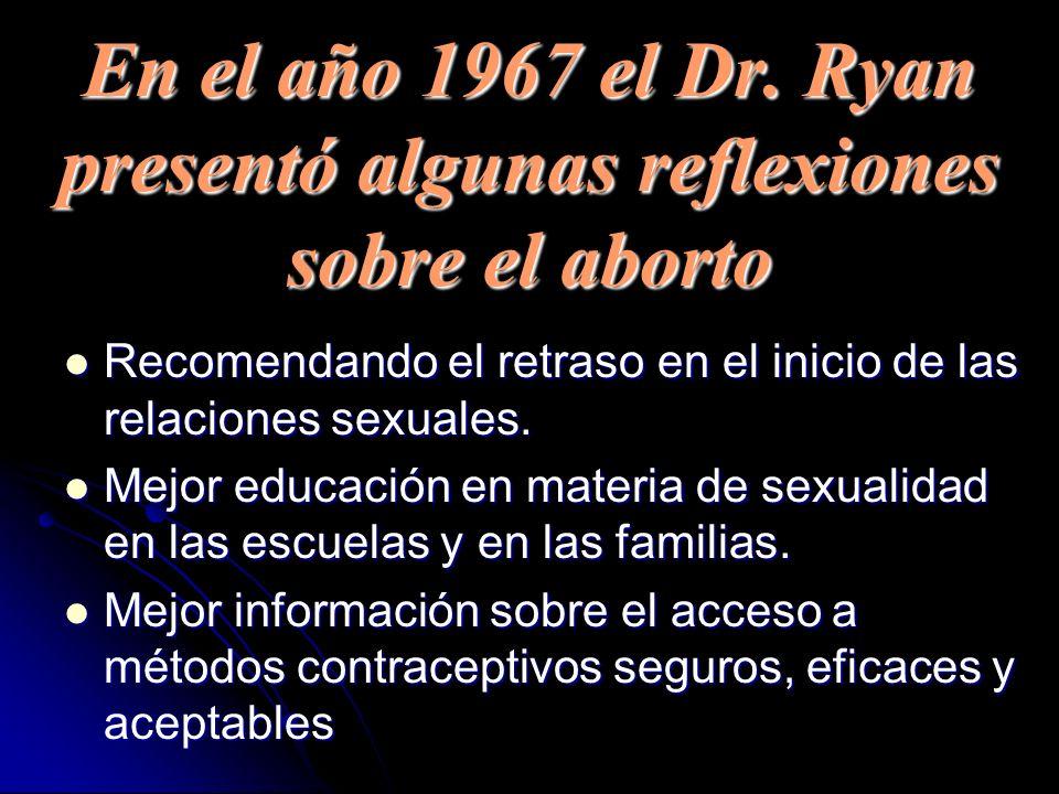 En el año 1967 el Dr. Ryan presentó algunas reflexiones sobre el aborto Recomendando el retraso en el inicio de las relaciones sexuales. Recomendando