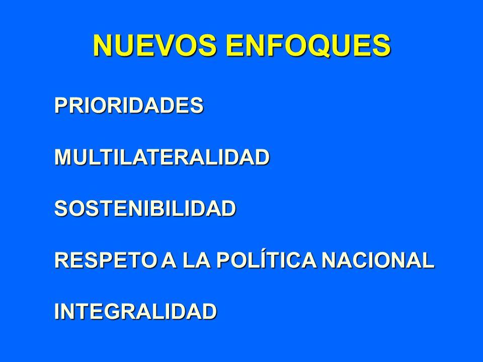NUEVOS ENFOQUES PRIORIDADESMULTILATERALIDADSOSTENIBILIDAD RESPETO A LA POLÍTICA NACIONAL INTEGRALIDAD