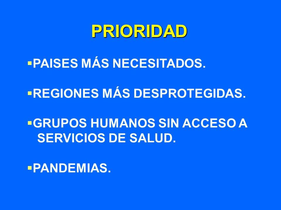 PRIORIDAD PAISES MÁS NECESITADOS. REGIONES MÁS DESPROTEGIDAS. GRUPOS HUMANOS SIN ACCESO A SERVICIOS DE SALUD. PANDEMIAS.