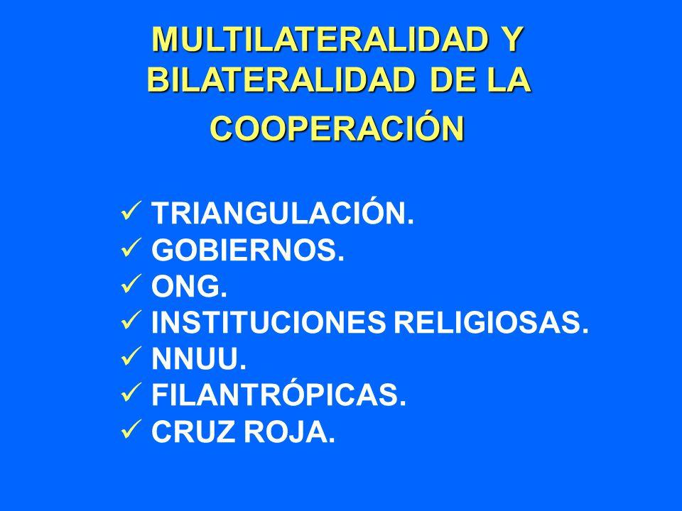 MULTILATERALIDAD Y BILATERALIDAD DE LA COOPERACIÓN TRIANGULACIÓN. GOBIERNOS. ONG. INSTITUCIONES RELIGIOSAS. NNUU. FILANTRÓPICAS. CRUZ ROJA.
