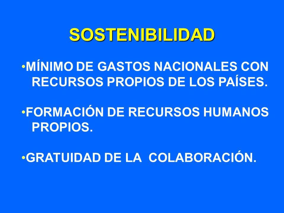 SOSTENIBILIDAD MÍNIMO DE GASTOS NACIONALES CON RECURSOS PROPIOS DE LOS PAÍSES. FORMACIÓN DE RECURSOS HUMANOS PROPIOS. GRATUIDAD DE LA COLABORACIÓN.