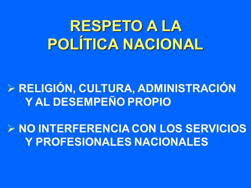 RELIGIÓN, CULTURA, ADMINISTRACIÓN Y AL DESEMPEÑO PROPIO NO INTERFERENCIA CON LOS SERVICIOS Y PROFESIONALES NACIONALES RESPETO A LA POLÍTICA NACIONAL