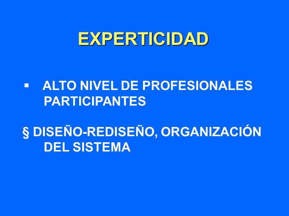 EXPERTICIDAD § ALTO NIVEL DE PROFESIONALES PARTICIPANTES § DISEÑO-REDISEÑO, ORGANIZACIÓN DEL SISTEMA