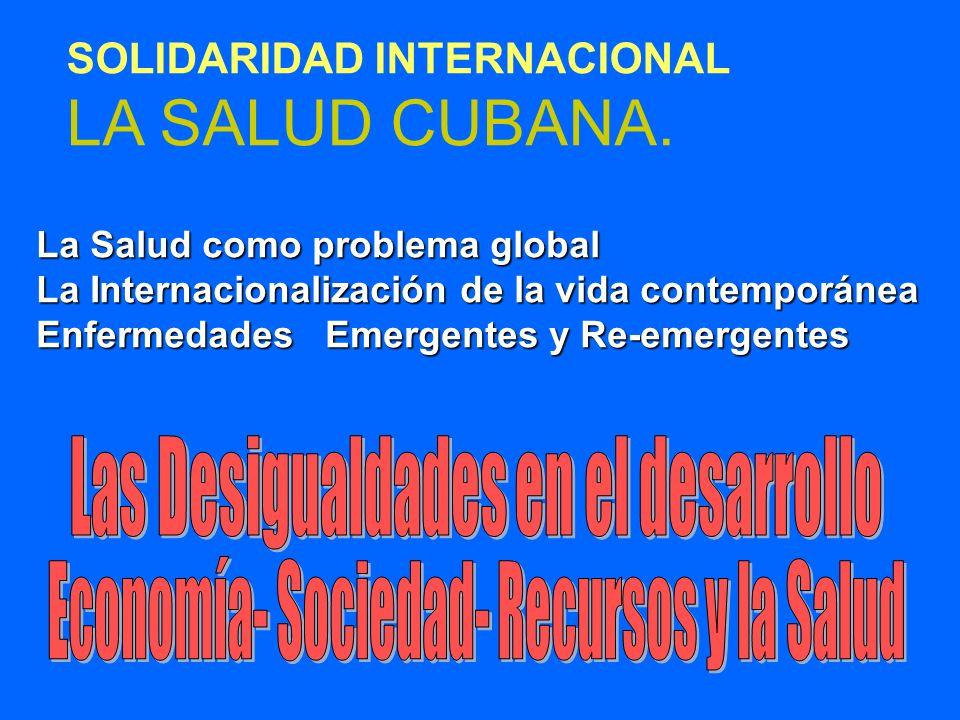 SOLIDARIDAD INTERNACIONAL LA SALUD CUBANA. La Salud como problema global La Internacionalización de la vida contemporánea Enfermedades Emergentes y Re